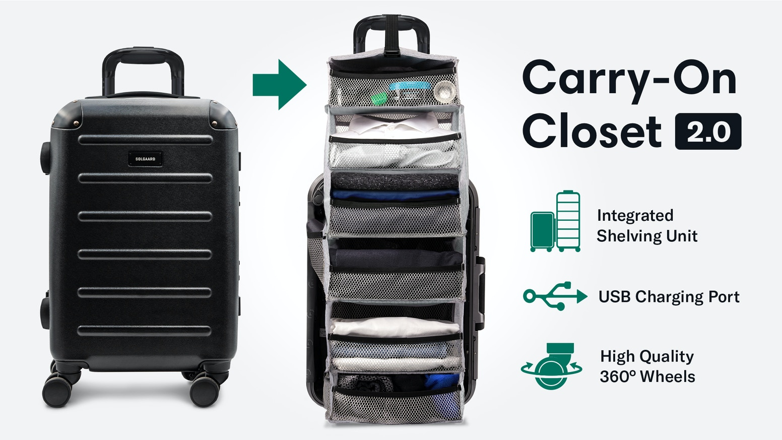 A premium suitcase with a retractable shelving system, USB power, eco-friendly lining and more.