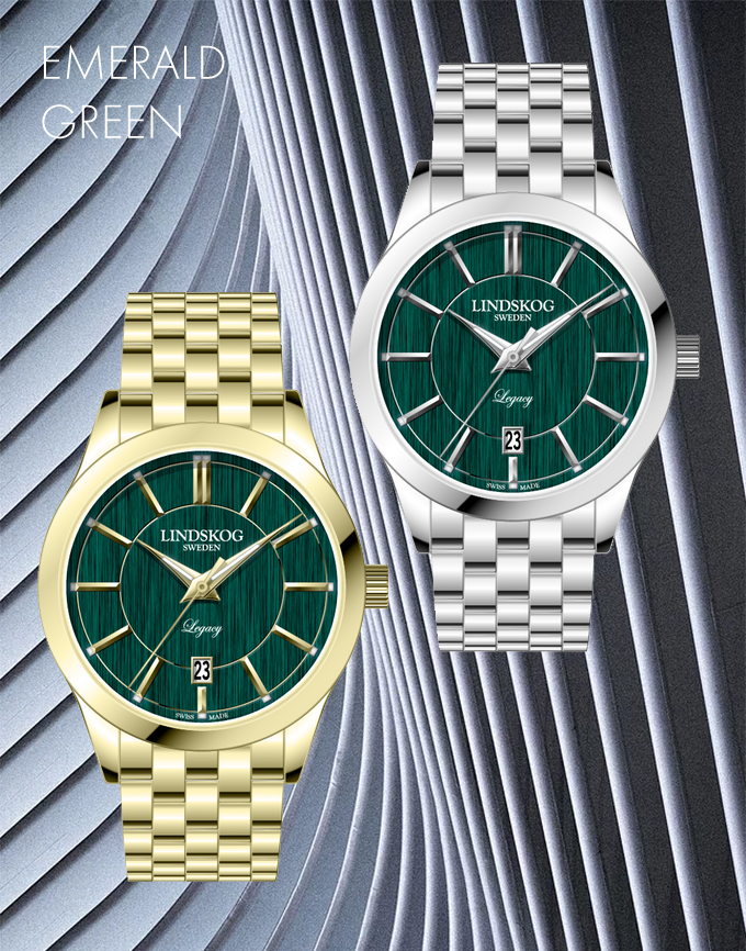 Brushed Dial in Emerald Green