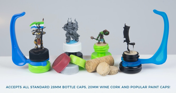 Accepts 28mm plastic caps; Citadel ™ Paint Caps; Formula P3 paint caps; and 20mm wine cork.