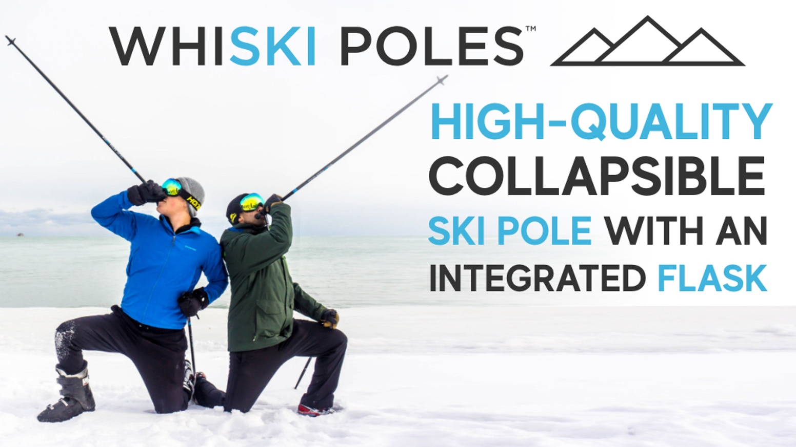 High-quality collapsible performance ski poles with an integrated flask + stash handles, perfect for a post-ski drink or après ski life