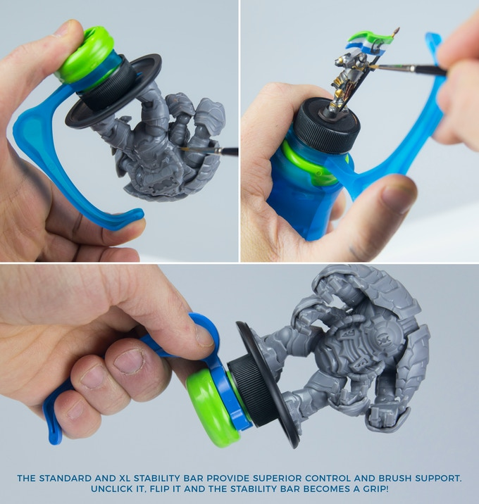 The stability bar rotates 360 degrees so you never have to let go of your miniatures.