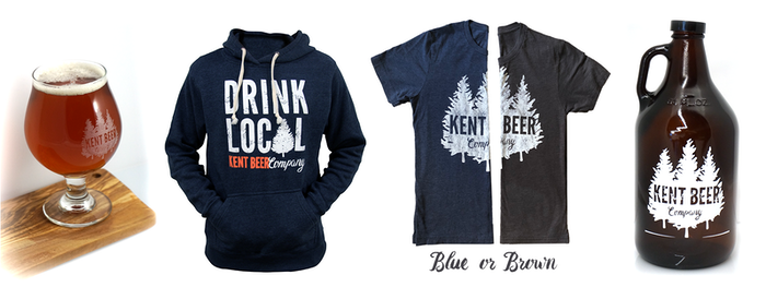 Reward Previews: Glass, Hoodie, T-Shirts (Blue or Brown), Growler