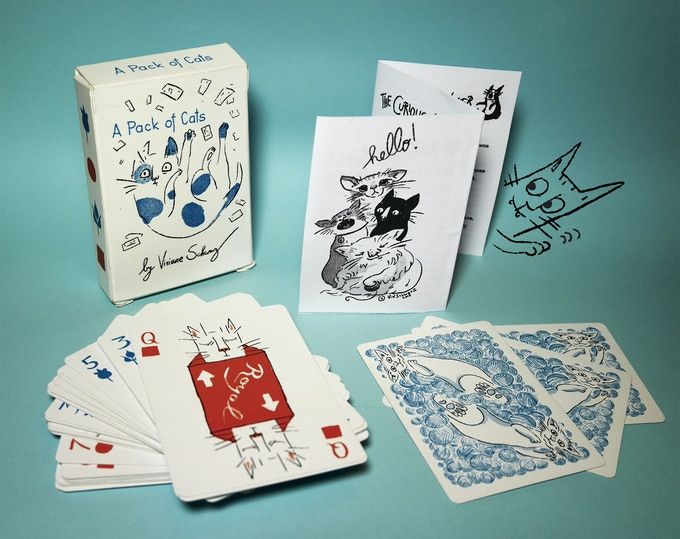 The box (a bit battered because I used it a lot already), the cards, the rules (prototype) and an optional doodle (will be on paper when you get yours).