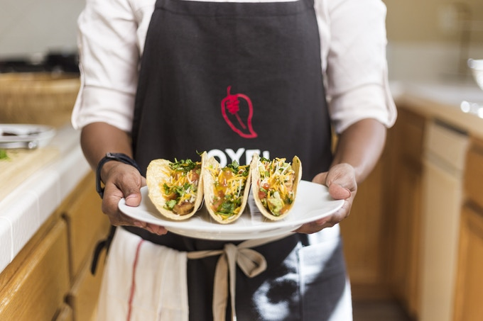 Mango Chili on classic seafood tacos - yumm!