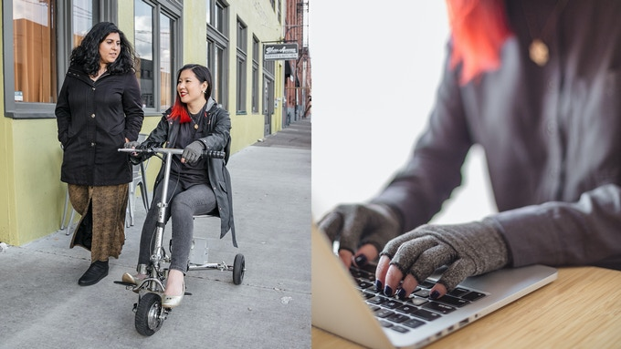 Left: two women strolling side by side, one on foot and one on mobility scooter. Right: woman typing with arthritis gloves.