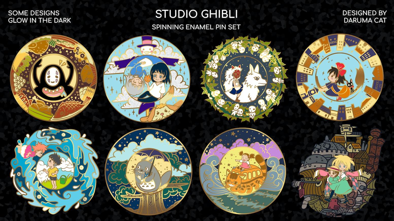 STUDIO GHIBLI SPINNING HARD ENAMEL PIN SET by Daruma Cat