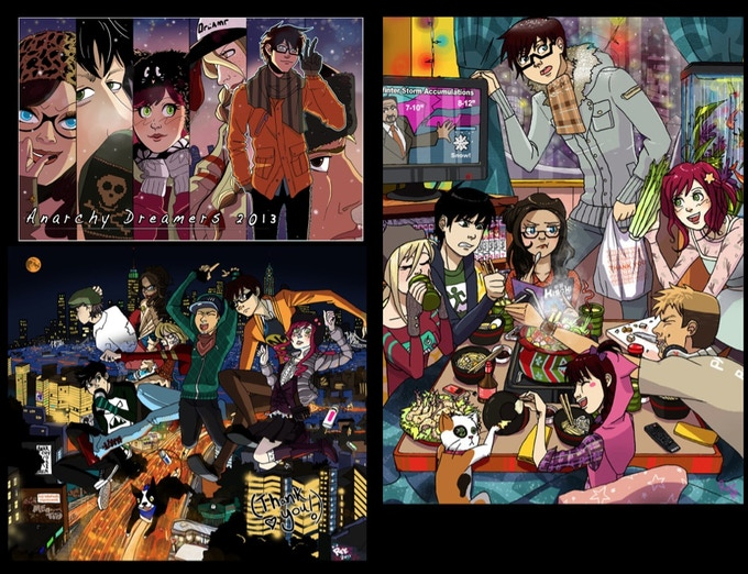 Anarchy Dreamers development illustrations, 2011-2012  (not reflective of final page layouts)