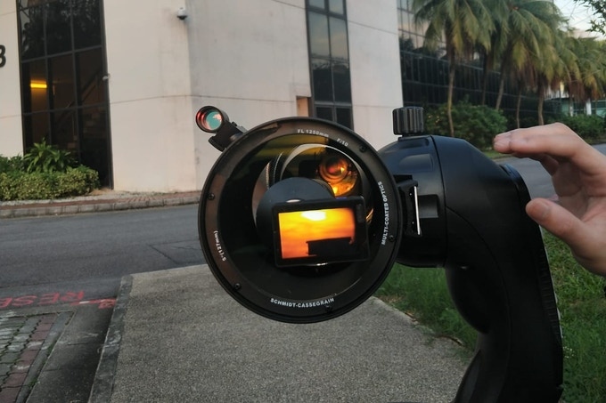 """1400mm F2? Yes. With NANO1 in prime focus with a Celestron C5 telescope, you can. (special """"Fastar"""" type adapter not included.)"""