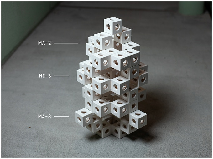 Example of three GHOSTKUBES combined to a tower.