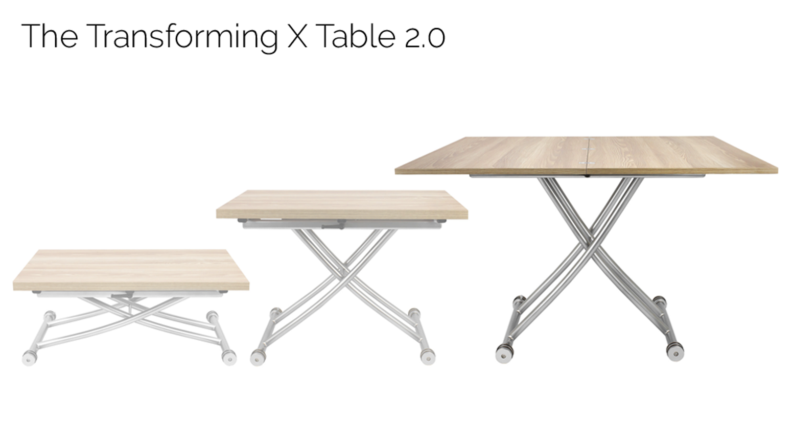 Maximum function. Minimal floor space. Modern Design. The X Table 2.0 transforms seamlessly from coffee to dining table to desk & more.