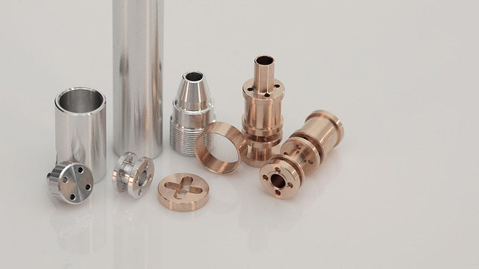 Every part is machined from a solid rod of aluminium and brass. There are no plastic parts.