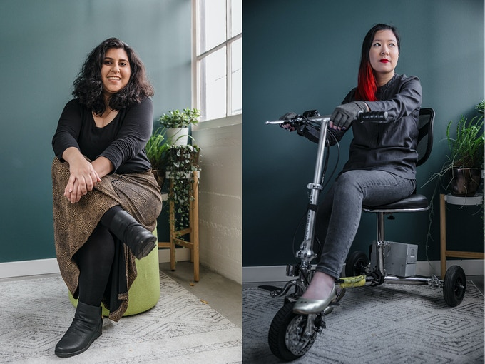 Portrait examples! Left: invisibly disabled woman sitting on stool. Right: visibly disabled woman sitting on mobility scooter.