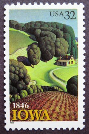 """150th Anniversary of Iowa Statehood using Grant Wood's painting """"Young Corn."""""""