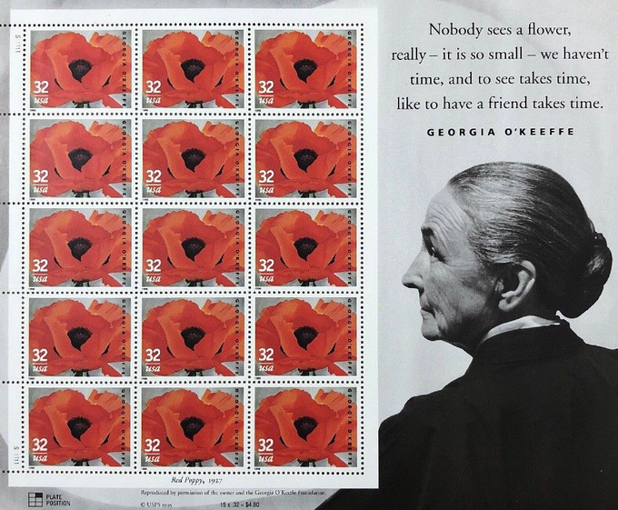 """Georgie O'Keeffe's """"Red Poppy, 1927"""" stamps were issued in a sheet of fifteen."""