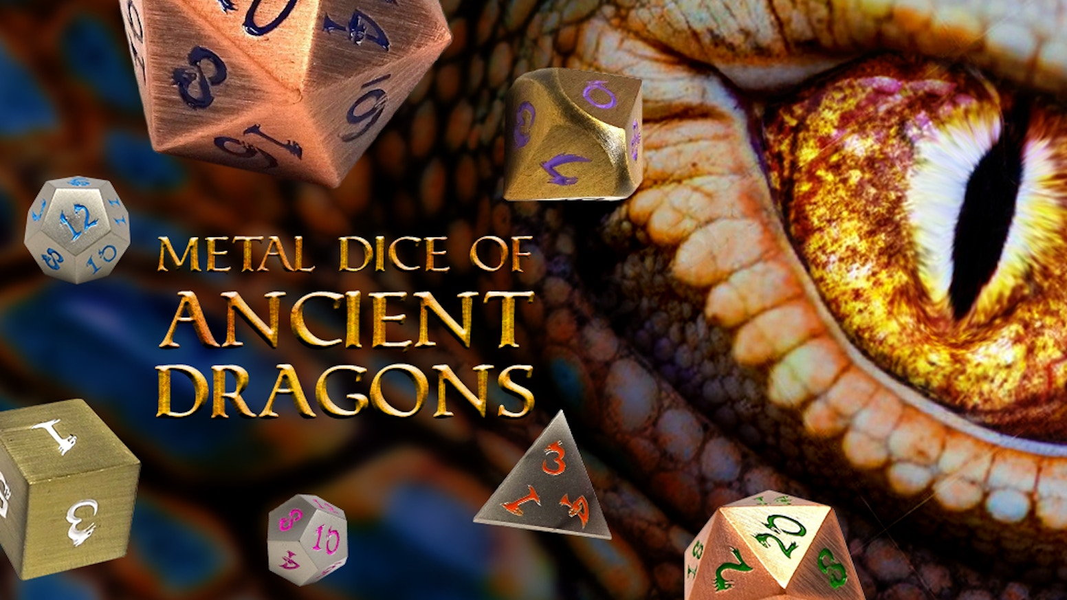 High quality metal RPG dice with our unique Dragon Font.  Available in 4 finishes, with multiple colors and new case designs.