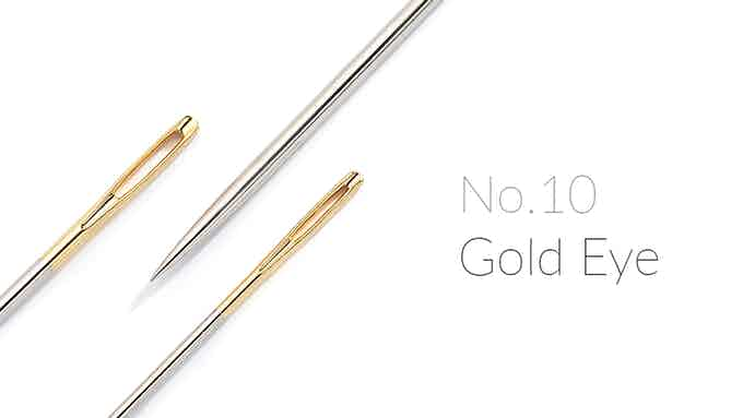 All our needles are No.10 Gold Eye Sharps needles – though small, they are tough and get the job done.