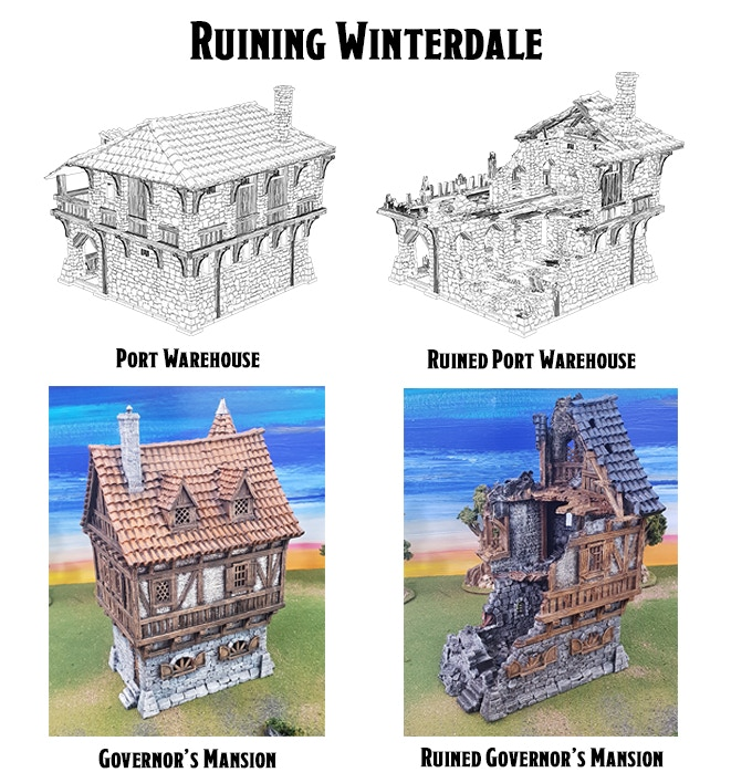 Previous examples of ruined Winterdale buildings