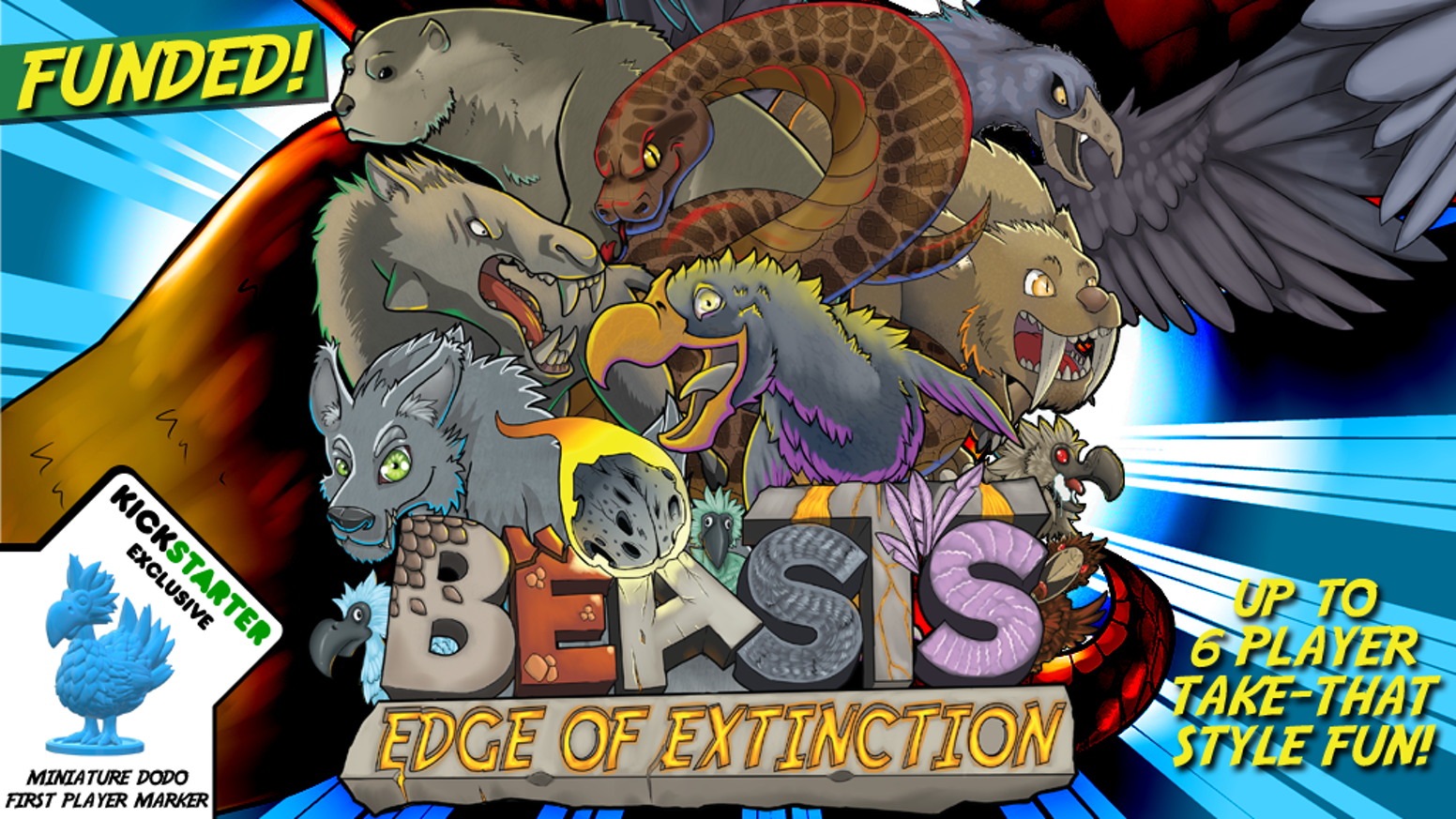 """A """"take that"""" style game where up to 6 players assume the role of an ancient predatory beast fighting for survival in a chaotic world."""