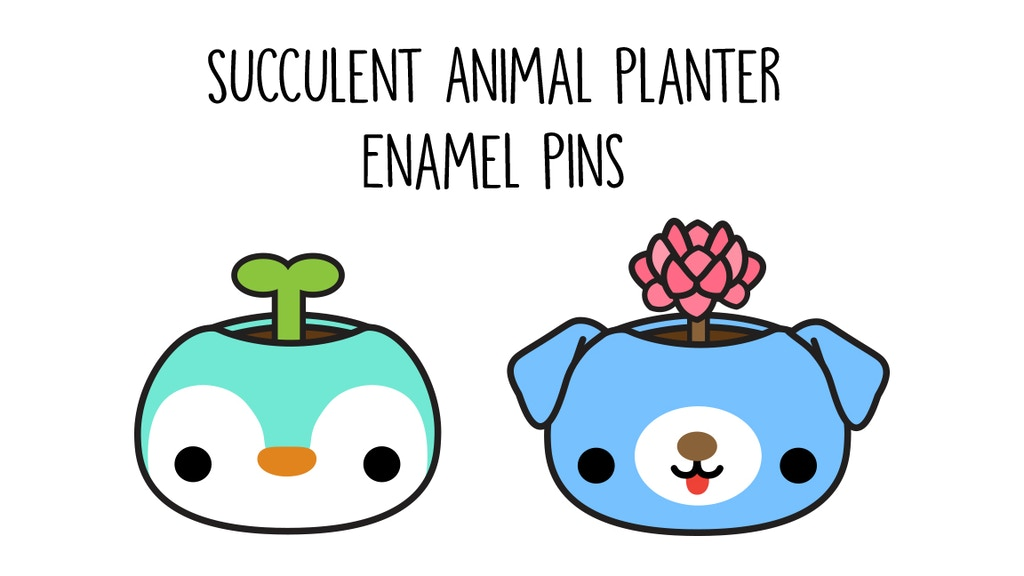 Succulent Animal Planter Enamel Pins - 2nd Set