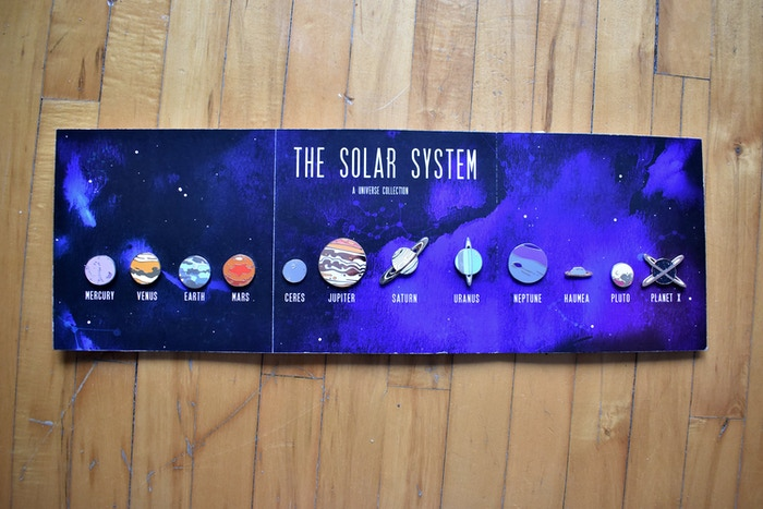 The entire solar system in the palm of your hand (on your jacket, bag, banner, wherever)!!