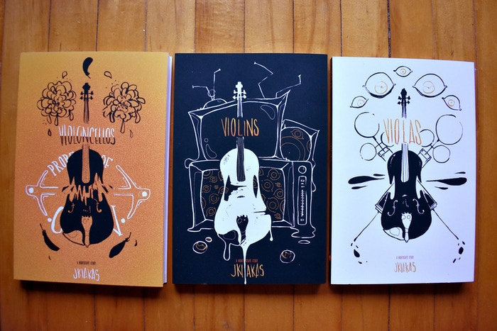 VVV Trilogy is a group of illustrated novellas (Violins, Violoncellos & Violas) that can be read in any order you please.