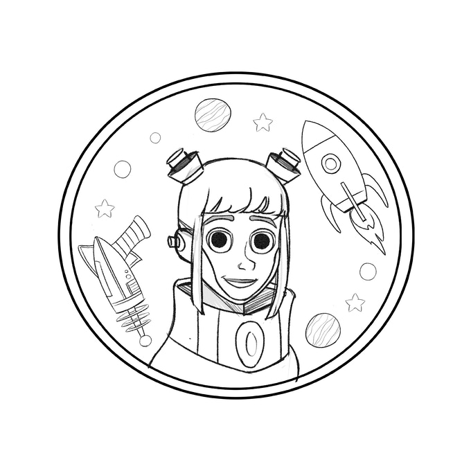Draft design - unlocked Moon Girl enamel pin by Molly Satterthwaite