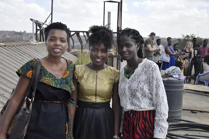 Filmmaker Jinna Mutune togheter with  women rights activist Binna Maseno director of Badili Africa and Emily Onyango coordinator K-Youth Media.