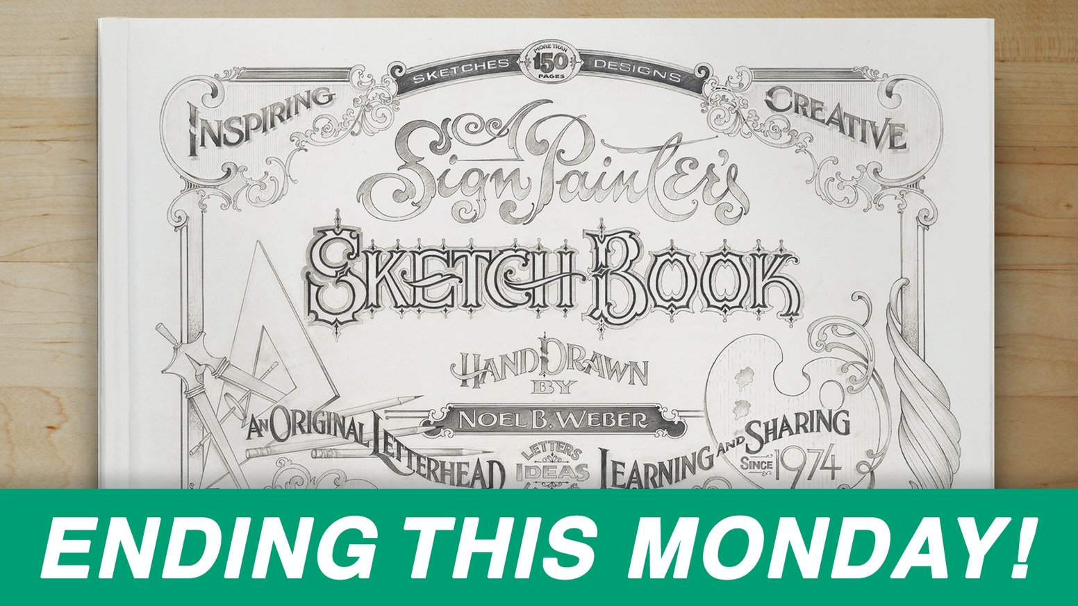 Hardcover art book of inspiring sketches by an old-school sign painter. Click the link below to pre-order the book. (Shipping April 2019)