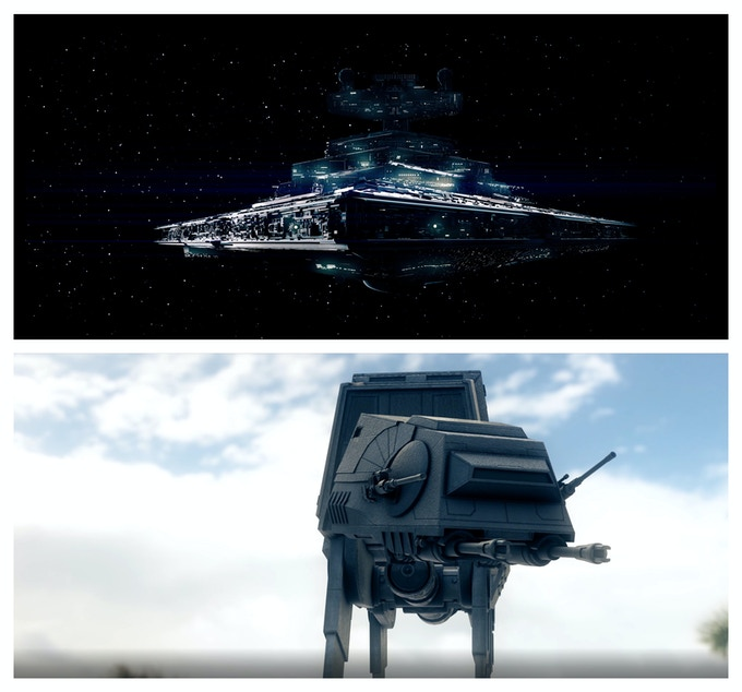 2 test renders of an Imperial Star Destroyer and an AT-AT