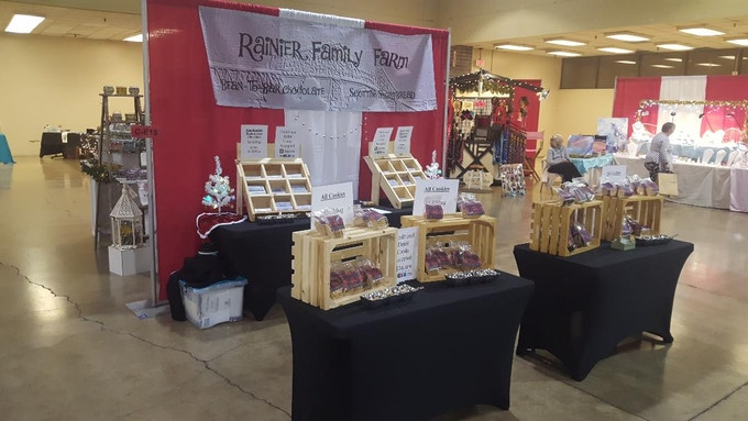 Our booth at a recent holiday bazaar
