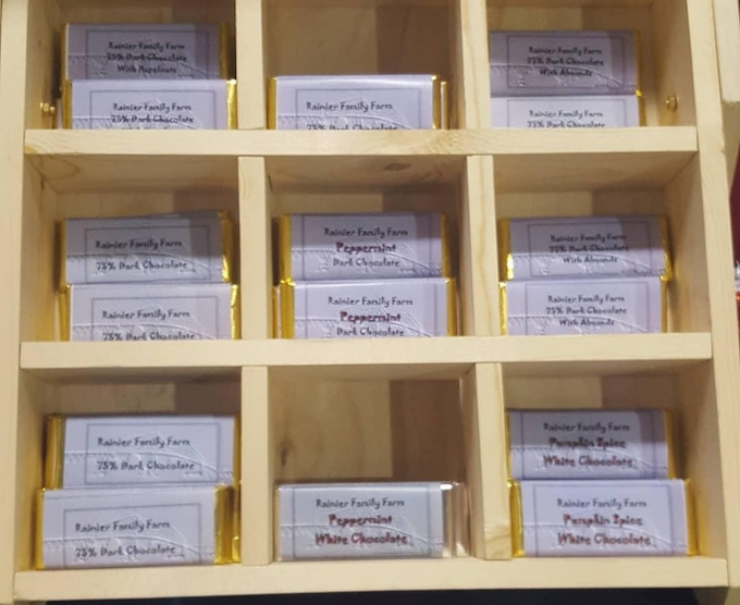 One of our new chocolate display racks. Chocolate bars shown are examples of the bars we will be sending in the backer rewards.