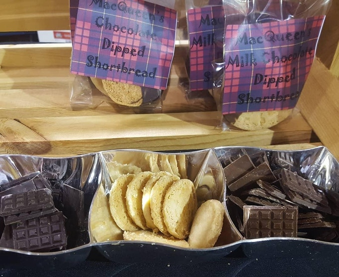Our Scottish Shortbread dipped in our delicious chocolate! Also pictured here are the mini bars from the $3 backer reward. The shortbreads in the tray are a mini we used for a special event.