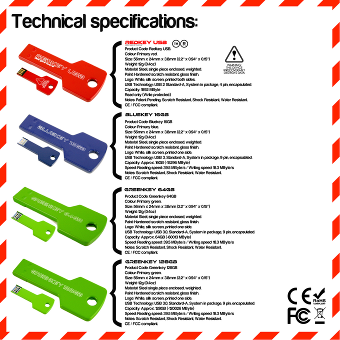 Technical Specifications. Please note the Redkey can not store data, it is only designed to erase it.