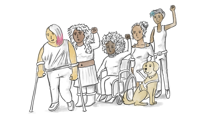 Illustration of scene we want to recreate live, with 5 BIPOC of various disabilities (plus a service dog) and some folx raising their fists