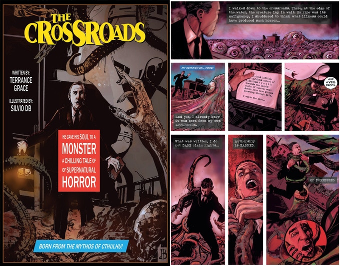 Cover and page from six page version of The Crossroads
