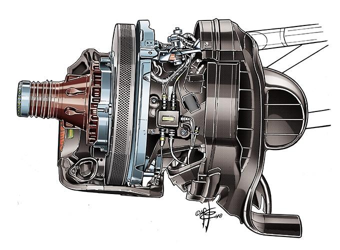 Ferrari SF17H front brake detail