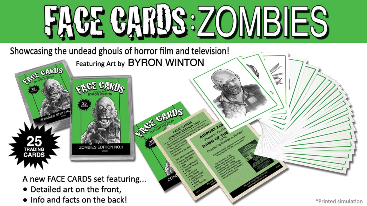 25 Trading Card Set. Artistic renditions of the undead ghouls from horror film and television!