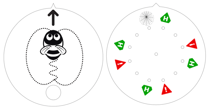 LEFT: top of waggle wheel, RIGHT: bottom of waggle wheel showing magnet positions and hero / hazard card pickup zones