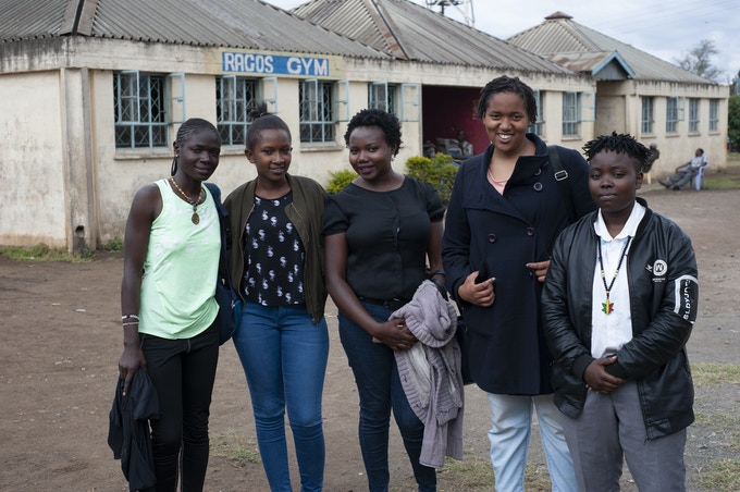Emily Onyango coordiantor of K-Youth Media together with Sharon Apido, Mercy Dwegi, Wangui Ndoga and Mary Nyambu all participants from film and photography training course.