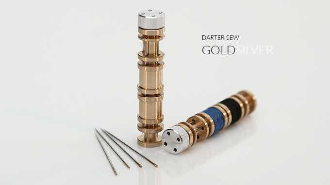 DARTER SEW includes 1x Brass cylinder, 1x Aluminium screw top, 4x No.10 needles