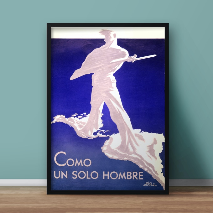 Propaganda poster showing a stylized armed man with legs emerging from North America and South America.