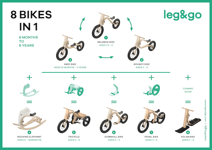 Eight-in-One Leg&Go Balance Bike! From eight months to six years! Comfortable, safe, unique - like nothing you have seen!