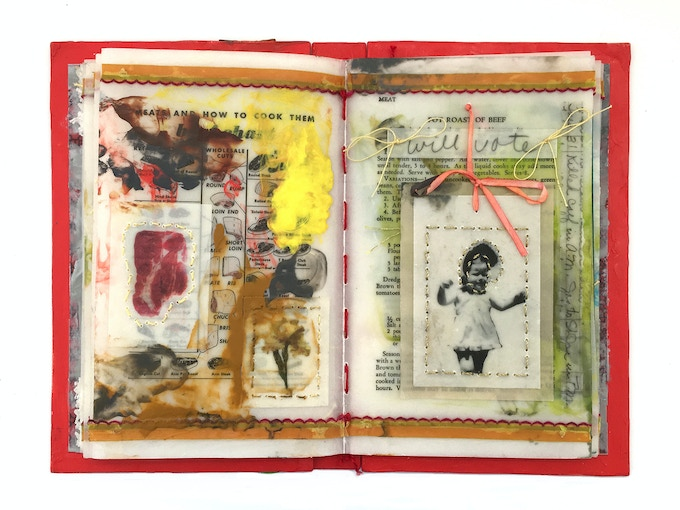 Tuesday's Clean Book Encaustic, Photographs, Thread, and Mixed Media on Paper 9.5 x 6