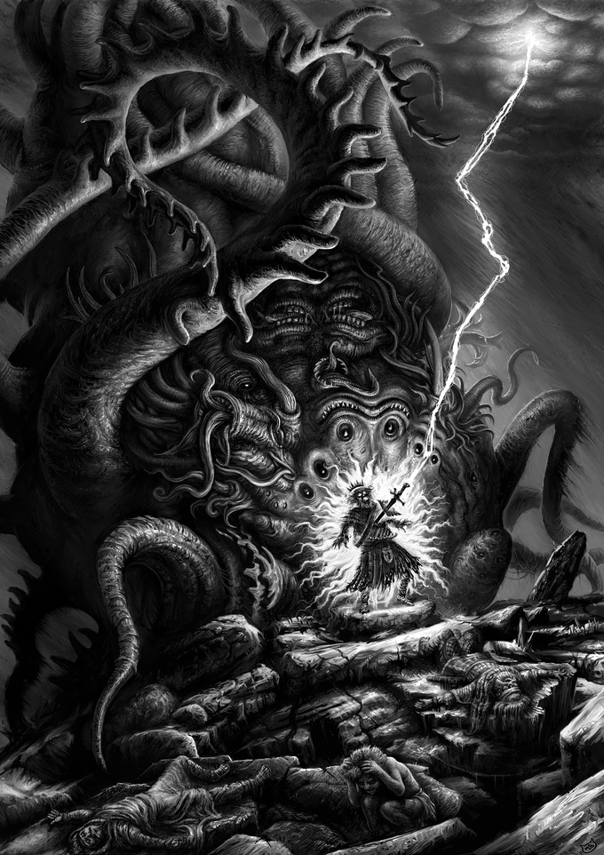 Tony Hough's illustration for the short story 'The Terrors of the Earth' that appeared in the anthology 'Shakespeare Vs Cthulhu'.