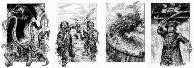 Some of Tony Hough's illustrations for my fourth Fighting Fantasy gamebook 'Bloodbones'.