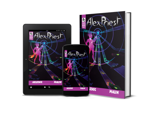 Rewards include digital and print copies of Alex Priest #4 (renderings aren't final - for example, it'll be a floppy comic).