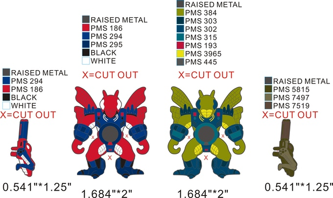 Here is the design of the Fly and Fly Variant pins and weapons