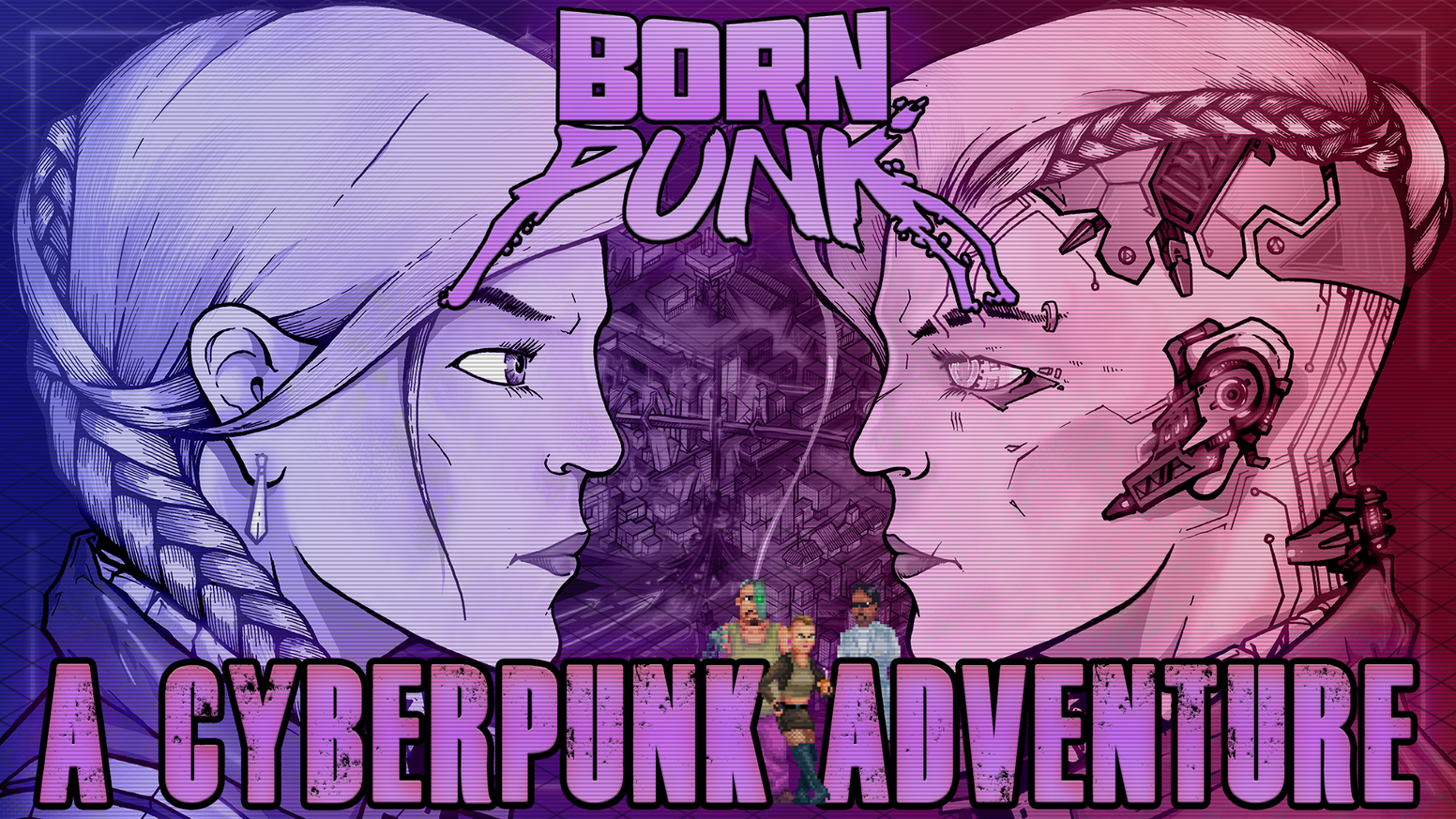 Born Punk is a narrative- and puzzle-driven cyberpunk pixel art point & click adventure in the style of classic 90s games. Accompany Eevi, a former corporate hacker, as she tries to understand why and how her cyber-implants were infected by a rogue AI.