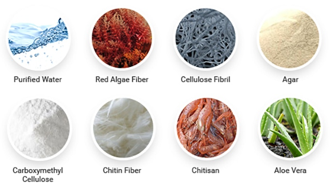 Sheet components: purified water, red algae fiber, cellulose fibril, agar, carboximethyl cellulose chitosan fiber, chitosan. Essence ingredients: aloe vera extract purified water.
