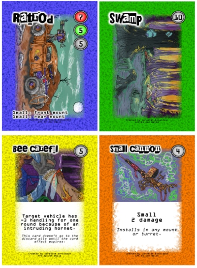 The first four finished cards.